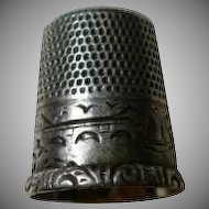Antique Sterling Thimble Size 8 with Engraved Scene