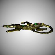 1920's -1930's Figural Lizard Brass Pin with Rhinestones
