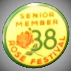 1938 Portland Rose Festival Senior Member Pinback Button