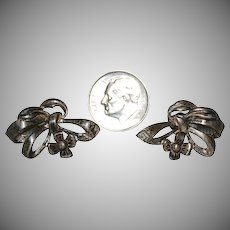 Sterling Ribbon Bow & Flower Earrings