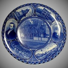 "Blue & White Rowland & Marsellus Historical Plate ""Longfellow"" Poet RE"