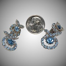 Sparkly Ice Blue Rhinestone Earrings