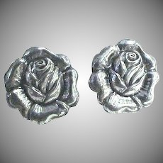"Sterling 3 piece set, Pin & a pair of earrings ""Roses"""