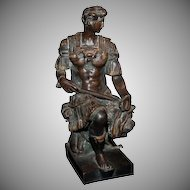"""1880's - 1890's Bronze Florence Figure """"Giuliano duke of Nemours""""  copy of marble statue by Michelangelo"""