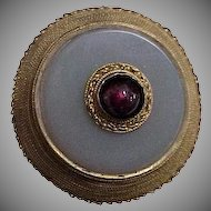 Georgian Era Gold Brooch / Pin w/ Chalcedony and Garnet Stones