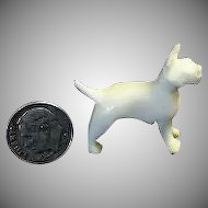 Miniature Carved  Dog Figurine of a Bull Dog / Terrier