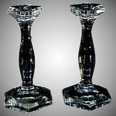 "Pair of Antique Heisey Crystal Clear Glass 7 1/2"" Candlesticks"