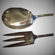 1890's Mother Of Pearl Handle Silverplated Meat Serving Spoon & Serving Fork Set