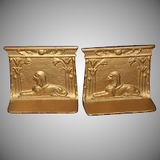 1930's Egyptian Motif Cast Iron Bookends