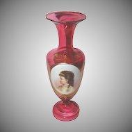 Stunning 1870's Bohemian Cranberry Vase w/ Hand Painted Porcelain Portrait