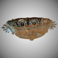 "Meadow Rose Crystal Etching by Fostoria 10 5/8"" Baroque 4 toed Bowl"