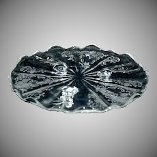 (2) Meadow Rose Crystal Etching by Fostoria Baroque 3 toed Tidbit Plates