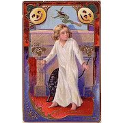 Halloween Postcard Mailed in 1910 with Witch, Black Cat Pumpkins, Bats & Black Spider