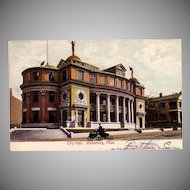 Postcard from Vicksburg, Mississippi of the City Hall