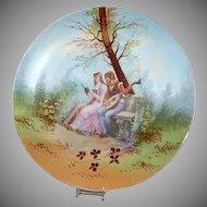 """Romantic Couple / Romeo & Juliet 13 1/2"""" Limoges France Plaque"""