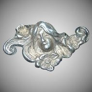 Sterling Silver Art Nouveau Lady w/ Flowing Hair Hat Pin