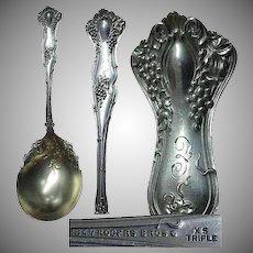 "1847 Rogers Bros. Grape Pattern ""Vintage"" SP Berry Serving Spoon"