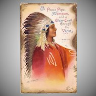 "Scare American Indian Chief  dated 1912 Postcard signed ""Clapsaddle"""