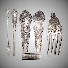 """Grape Pattern Moselle SP 8"""" Long Pickle Fork by American Silver Co / World Brand"""