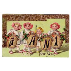 """1912 New Years Postcard & """" A Happy New Year """" Greeting"""