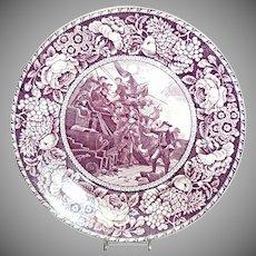 "Purple & White Historical Plate ""Commodore Paul Jones"""