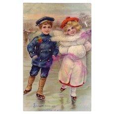 "Religious Card "" Boy & Girl Ice Skaters"""