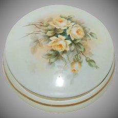 Hand Painted Bavarian Powder Box w/ Beautiful Yellow Roses