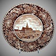 "Brown & White Historical Plate ""Independence Hall"" Philadelphia Pennsylvania"