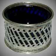 1920's English Plated Silver Salt Cellar w/ Cobalt Liner