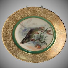 "1900's Hand Painted Bavarian P T Tirschenreth Fish Plate ""Pike"""