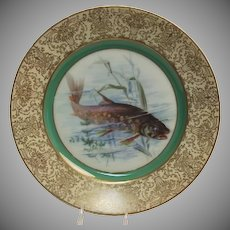 "1900's Hand Painted Bavarian P T Tirschenreth Fish Plate ""Brook Trout"""
