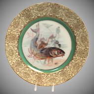 "1900's Hand Painted Bavarian P T Tirschenreth Fish Plate ""Bass"""