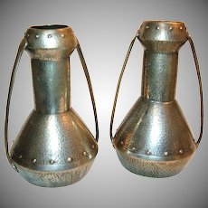 Pair of Monumental Hand Beaten Pewter Mission Arts & Crafts Vases
