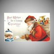 """Postcard """" Santa Signed Ellen H. Clapsaddle """" A Letter to Santa"""