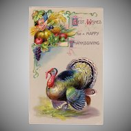 Colorful Thanksgiving Postcard w/ a Turkey