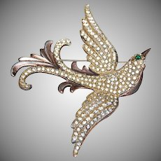 Fantastic Large Sterling Silver Bird of Paradise w/ Wings Out Pin