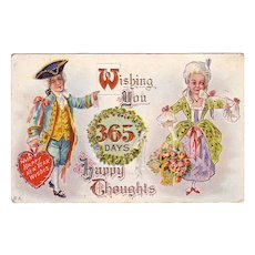 Happy New Years Postcard w/ Colonial Man & Woman