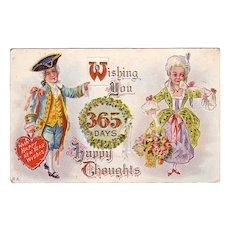 Happy New Years Postcard w/ Colonial Man & Woman