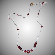 Very Delicate & Petite Necklace w/ Red Garnet Stones