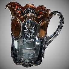 """EAPG 8"""" Tall Heavy Clear with Gold Decoration Water Pitcher"""