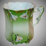 1890's Pastel Green & White Floral Snow Drops Germany Porcelain Mug