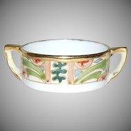 (2) Handled Colorful Art Deco Nippon Individual Salt