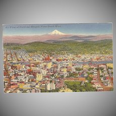 """Postcard """"Air View of Portland Oregon"""" from South West"""