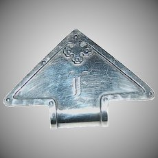 Sterling Arts & Crafts Triangular Shaped Carmel Pattern by Wallace Napkin Clip