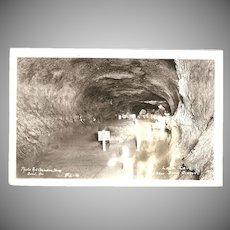"RPPC Photograph of Inside the "" Lava Cave, near Bend Oregon"""