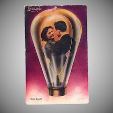 "Postcard ""Lovers in a Light Bulb"""