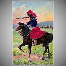 "Postcard ""Cowgirl with Rifle on Horseback"""