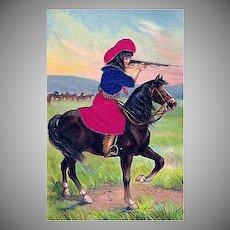 "Postcard ""Cowgirl on Horseback with Rifle"""