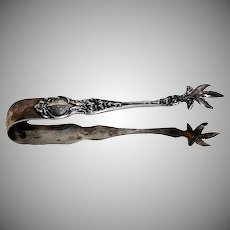"""R Wallace & Son Sterling 1904 """"Violet Pattern Sugar Tongs"""""""