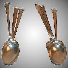 Set of Six (6) Sterling Demitasse / Coffee Spoons 1922 Theseum Pattern